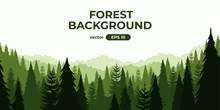 Seamless Forest Landscape. Colorful Silhouette With Trees, Pines, Firs, Mountains And Hills. Layered Background With Parallax Effect. Flat Style Vector Illustration. Simple Cartoon Design.