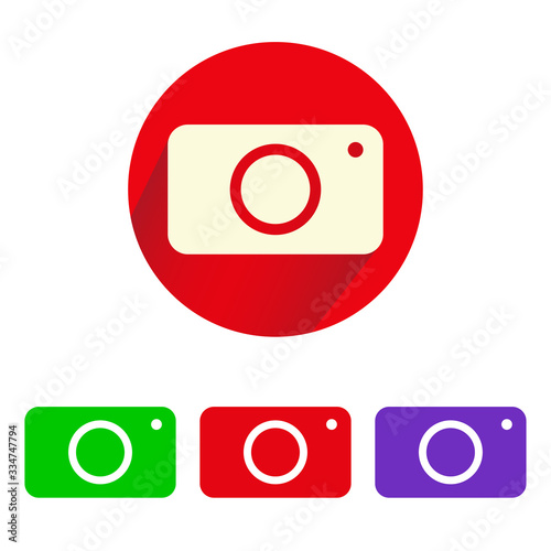Fototapeta Camera icons set of different colors, camera with shadow. Illustration of camera design in flat style isolated on white background. Vector illustration obraz na płótnie