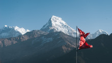Nepal Flag On The Mountain