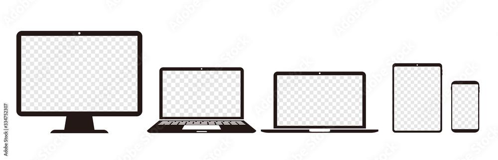 Fototapeta pc laptop smartphone tablet vector illustration