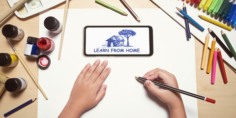kids use smartphones to study online courses. remote e-learning class. learn from home concept. drawing and art education.