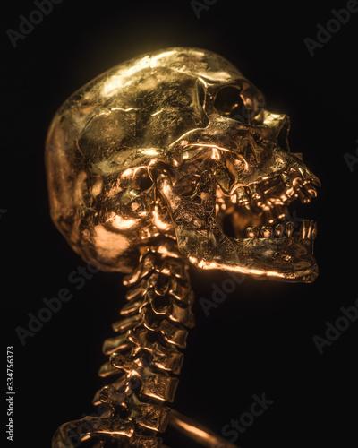 Valokuva Gold Skull Isolated On Black Background