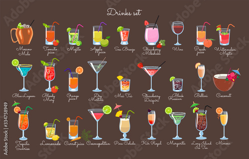 Fototapeta Set of drinks on a brown background. Vector graphics.