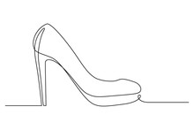 High-heeled Shoe In Continuous Line Art Drawing Style. Elegant Women Stiletto Heels With Platform Sole Minimalist Black Linear Sketch Isolated On White Background. Vector Illustration