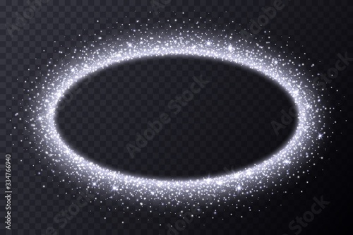Fototapeta Silver oval frame with sparkles and flares, abstract luminous particles, white stardust light effect isolated on a dark background. Xmas glares and sparks. Luxury backdrop. Vector illustration. obraz