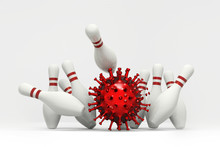 Corona Virus Covid-19 Chain Reaction Concept Using Bowling Game