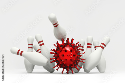 Corona virus Covid-19 chain reaction concept using bowling game Fotobehang