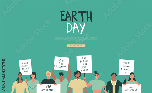 Earth day web template of people parade event Canvas Print