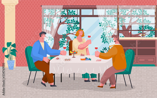 People having lunch or dinner in restaurant or at home. Friends meeting with wine and food like desserts and fruits. Luxury interior, big window with beautiful landscape. Vector illustration in flat