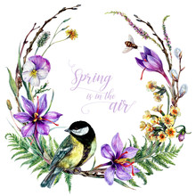 Watercolor Blooming Wreath With Titmouse