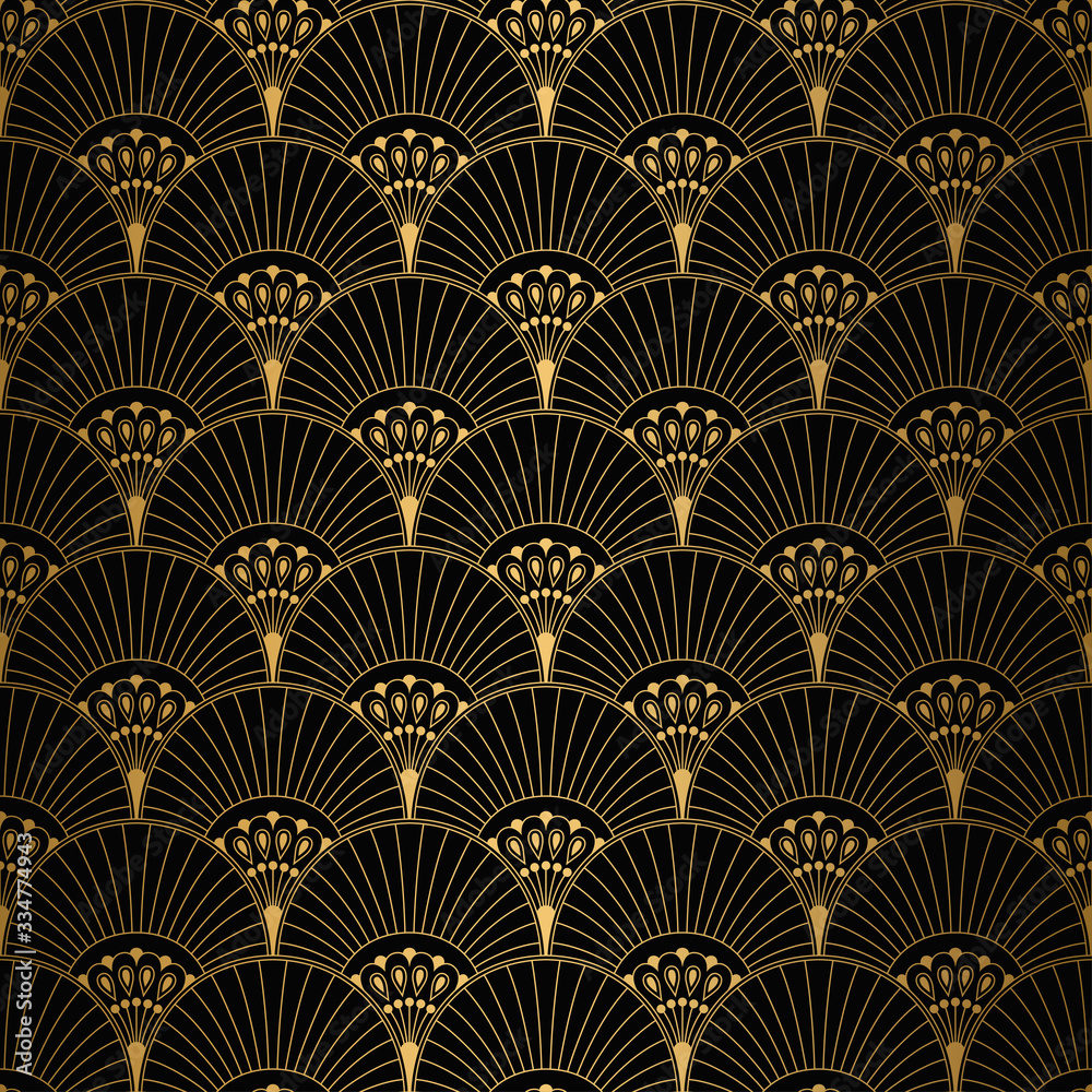 Art Deco Pattern. Seamless white and gold background
