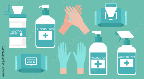Obraz set of hand washing supplies for good hygiene, virus prevention and flu protection with hand sanitizers, alcohol gel, wet wipes and gloves, vector flat illustration - fototapety do salonu
