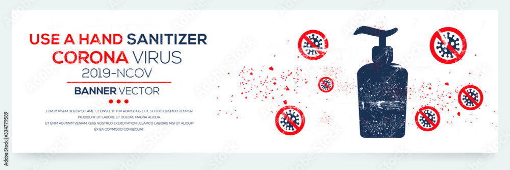 Fototapeta Creative (Use a hand sanitizer ) Banner Word with Icons ,Vector illustration.