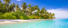 Tropical Beach Background As Summer Landscape With White Sand And Coco Palm Trees Close To Calm Sea For Beach Banner. Perfect Beach Scene Vacation And Summer Holiday Concept.