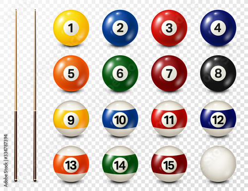 Fototapeta Billiard, pool balls with numbers collection. Realistic glossy snooker ball. White background. Vector illustration. obraz