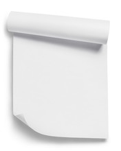Curled White Paper, Isolated O...