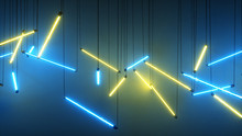 Blue And Yellow Neon Fluoresce...