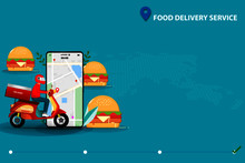 Concept Of Fast Food Delivery Service, Man Driving Scooter In Front Of A Big Hamburger And Smartphone That The Display Contain Map And GPS To Deliver The Food To Customer By Use Application On Mobile.