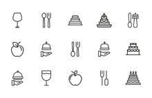 Stroke Line Icons Set Of Gastronomy.