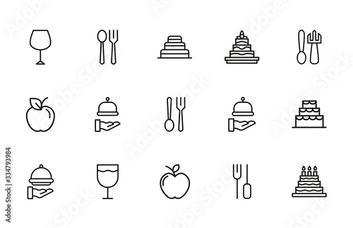 Canvas Print Stroke line icons set of gastronomy.