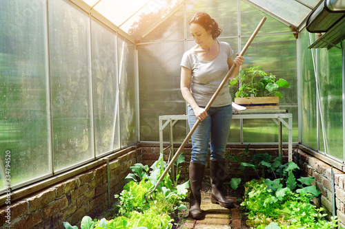 Photographie Woman in a greenhouse in the garden at gardening and plant care