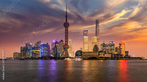 Shanghai skyline and skyscraper modern building construction architecture in Asia,  Shanghai, Lujiazui downtown business and financial in China on the Huangpu River Canvas Print
