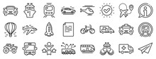 Taxi, Helicopter And Subway Train Icons. Transport Line Icons. Truck Car, Tram And Air Balloon Transport. Bike, Airport Airplane And Ship, Subway. Travel Bus, Ambulance Car, Paper Airplane. Vector