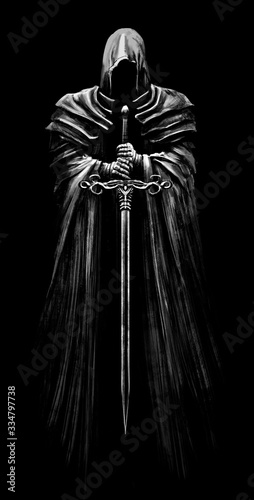 A creepy Ghost in a sinister hood in which a black void, he hovers in the air, holding a long sword in his hands .2D illustration. Wall mural