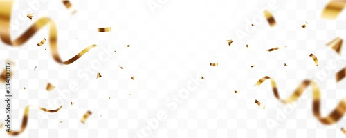 Canvastavla Gold confetti and ribbon background, isolated on transparent background