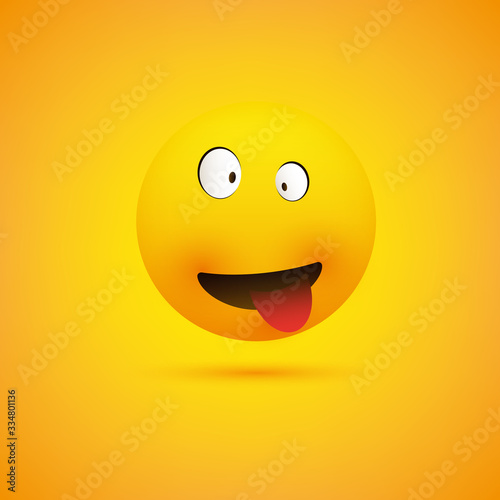Fotografia, Obraz Simple Smiling Crazy Emoticon with Squinting Eyes and Tongue Stuck Out Making Fa