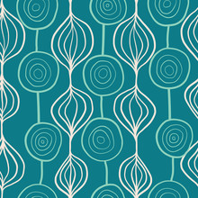 Organic Abstract Shapes Vector Pattern. Ornamental Vertical Floral Background Teal Blue. Contemporary Mod Art Repeating Shapes Background. Modern Scandinavian Style Backdrop Hand Drawn Lines.