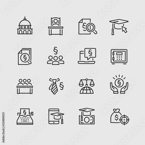 Lawyer and business vector icon set Canvas Print