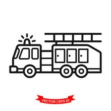 Fire Truck Icon In Trendy Flat Style
