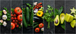 Leinwandbild Motiv Photo collages. Fresh vegetables on black background. Banner.