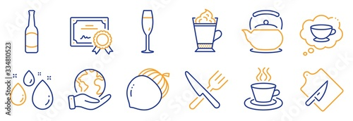 Fototapeta Set of Food and drink icons, such as Food, Teapot. Certificate, save planet. Acorn, Water drop, Champagne glass. Beer, Latte coffee, Tea cup. Cutting board, Coffee cup line icons. Vector obraz