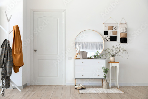 Stylish interior of modern hall with spring flowers Tablou Canvas