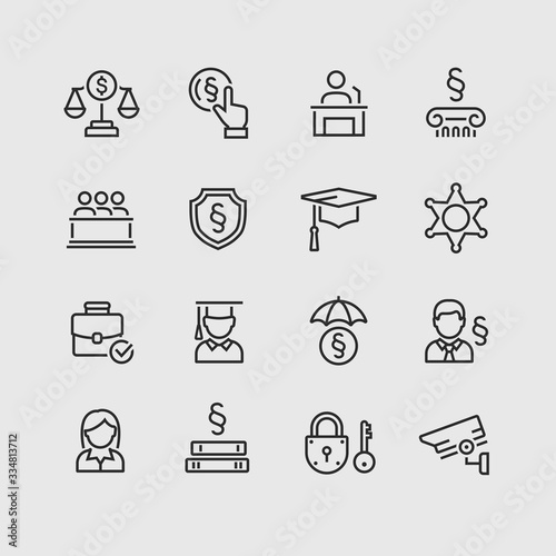 Law and Order Linear Vector Icons Set Wallpaper Mural