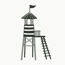 Monochrome Black And White Rescue Tower With Stairs