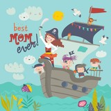 Cute mother pirate sailing with her kids in ship