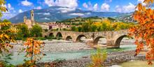 Landmarks Of Italy . Bobbio - Beautiful Ancient Town With Impressive Roman Bridge, Emilia Romagna