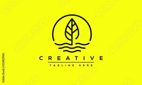 Fototapeta Leaf Water Wind logo design. Lake Tree Leafs icon circle shape design. obraz