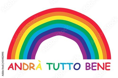 Rainbow and italian text Canvas Print