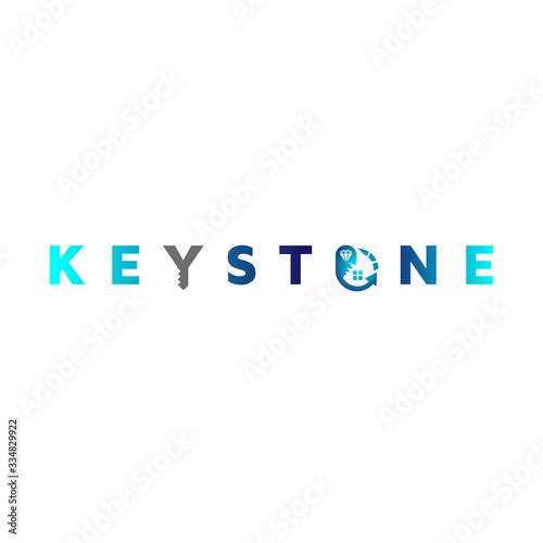 Obraz na plátně Wording text Diamond Real estate keystone template vector logo design inspiratio