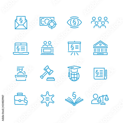 Lawyer and business vector icon set Fototapeta
