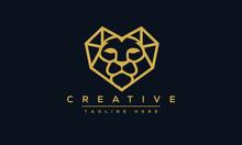 Lion Heart Logo Design. Heart Concept Vector Illustration