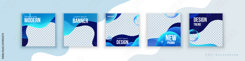 Fototapeta Liquid abstract banner design. Fluid Vector shaped background. Modern Graphic Template Banner pattern for social media stories and insta post