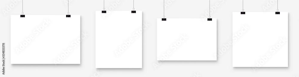 Fototapeta White blank poster template hanging on wall. Paper banner mockup. Vector