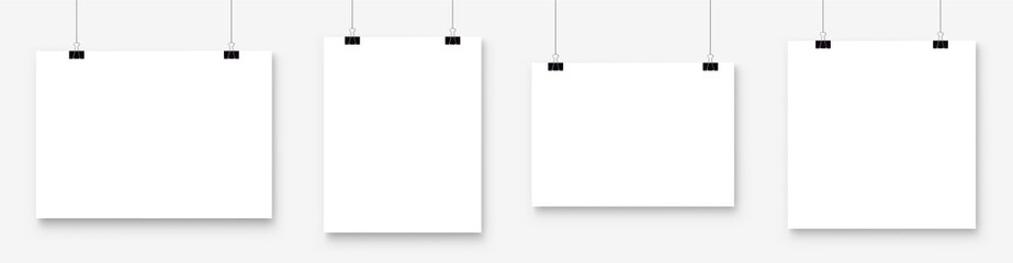 White blank poster template hanging on wall. Paper banner mockup. Vector