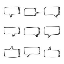 Vector Set Of Hand Drawn Speec...