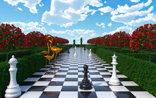 Maze Garden 3d Render Illustration. Chess, Golden Flamingo, Trees With Red Flowers And Clouds In The Sky. Alice In Wonderland Theme.